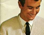 Men's Retro Sleeveless Pullover and Cardigan -- PDF KNITTING PATTERN
