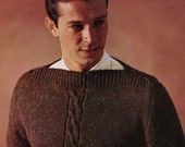 Men's 1960s Vintage Boatneck Pullover with Front Center Cable -- PDF KNITTING PATTERN