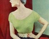 Women's 1950s Vintage Low-neck Blouse with Welt Stitch Trim -- PDF KNITTING PATTERN