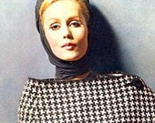 Women's 1960s Vintage Checked Coat with Stole -- PDF KNITTING PATTERN