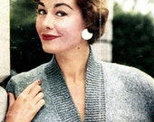 Women's 1950s Retro Fitted Deep V-Neck Cardigan with Wide Ribbing -- PDF KNITTING PATTERN