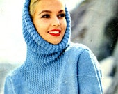 Women's Vintage Pullover with Deep Cowl and Textured Yoke Design -- PDF KNITTING PATTERN
