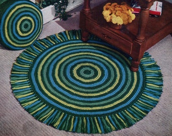 1950s Retro Crocheted Rug -- Pillow -- PDF CROCHET PATTERN