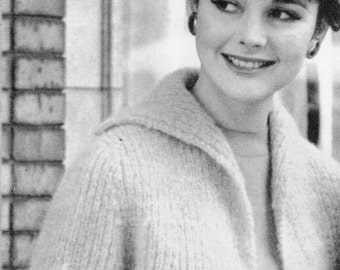 Women's 1960s Short Mohair Car Coat -- PDF KNITTING PATTERN