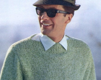 Men's 1960s Retro Tweed Pullover with Boatneck Collar  -- PDF KNITTING PATTERN