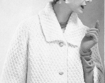 Women's 1960s Vintage Car Coat with Textured Stitch -- PDF KNITTING PATTERN