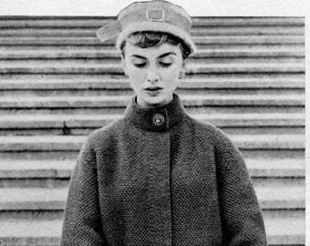 Vintage 1950s Swing Coat with Textured Stitch and Striped Cuffs -- PDF KNITTING PATTERN