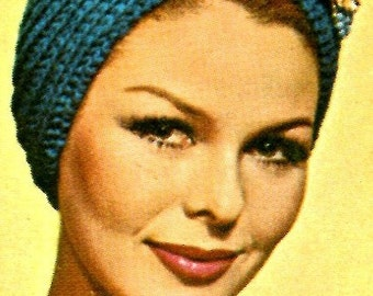 Ladies' 1960s Retro Knitted Turban -- PDF KNITTING PATTERN