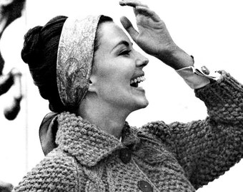 Ladies' 1960s Bulky Seed-Stitch Cardigan with Cable Detail -- PDF KNITTING PATTERN
