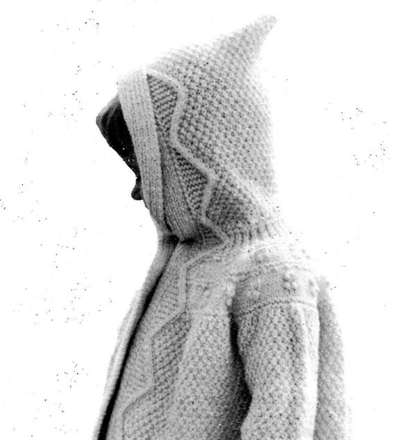 Vintage 1960s Hooded Toddler's Coat with Textured Stitch and Decorative Border -- PDF KNITTING PATTERN