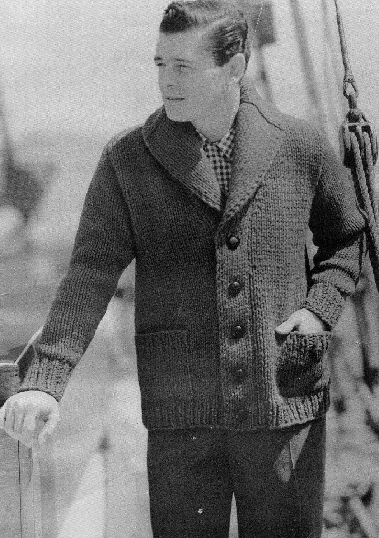 Men's Vintage Shawl-collar Cardigan Chunky Knit PDF