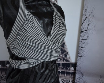 Grey and Black Striped Twisted halter top