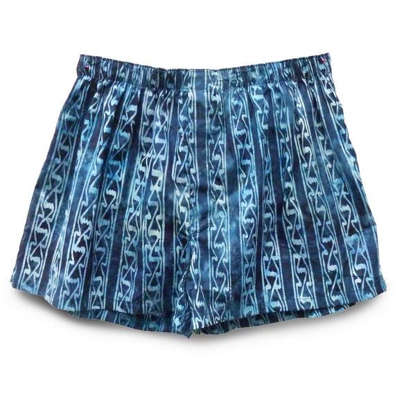 ON SALE Men Underwear Boxer SIZE S Blue Geometric Stripe Shorts