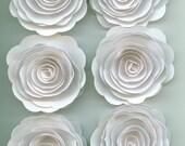 White Handmade Large Spiral Paper Flowers