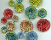 Red, Lime and Light Blue Mixed Handmade Spiral Paper Flowers