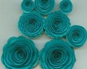 Teal Handmade Spiral Rose Paper Flowers