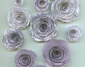 Light Iris Purple Pattern Handmade Rose Spiral Paper Flowers