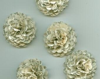 Book Print  Mini Carnation Paper Flowers