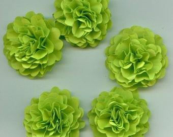 Mini Lime Green Carnation Paper Flower Embellishments