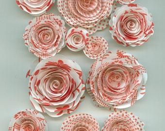 Red Pattern Handmade Rose Spiral Paper Flowers