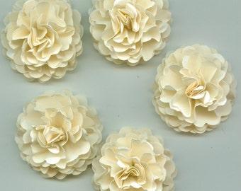 Sand Ivory Mini Carnation Paper Flower Embellishments