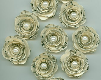 Pearl Music Sheet Handmade Mini Roses Spiral Paper Flowers