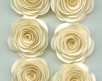 Mini Sand Ivory Roses Spiral Paper Flowers for Weddings, Bouquets, Events and Crafts