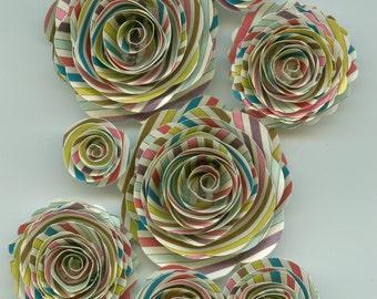 Crazy Stripes Handmade Spiral Paper Flowers
