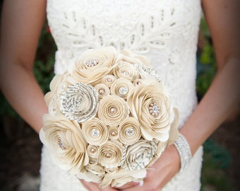 Pearls and Crystals Custom Paper Flower Bridesmaid Bouquet