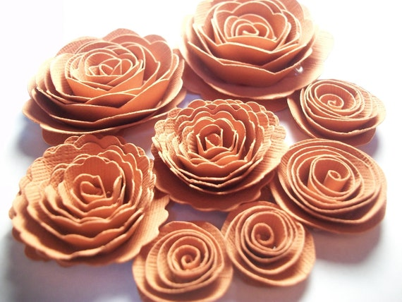 Rustic Brownish Spiral Rose Paper Flowers