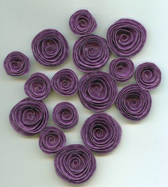 Pretty Purple Princess Handmade Spiral Paper Flowers