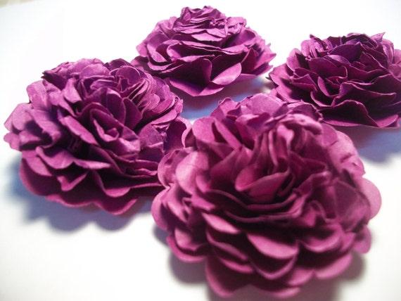 Bright Grape Purple Carnation Paper Flowers