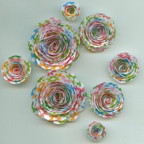 Flower Power Handmade Rose Spiral Paper Flowers Fuchsia, Lime Green, Orange, Blue