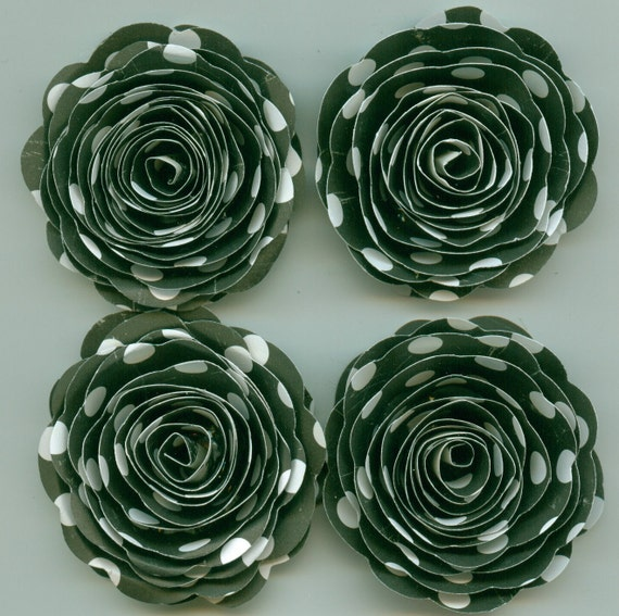 Black and White Polka Dot  Handmade Large Spiral Paper Flowers
