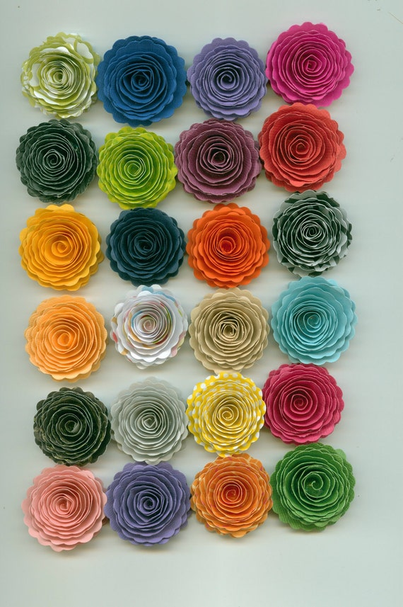 Mystery Mixed Color Lot Handmade Mini Scallop Paper Flowers