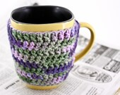 ON SALE -- Mug / Cup Cozy - in PURPLE AND GREEN.  (Super for hot beverages like tea, cider, and coffee).  made to order.