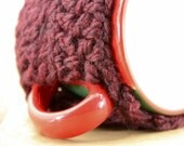 ON SALE -- Mug / Cup Cozy - in BURGUNDY WINE.  (Wrap up your hot beverages).  ready to ship.