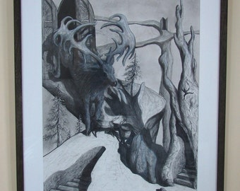 """Original Surreal Charcoal Elk Running Through Doors Drawing - """"The Many Options Of Life"""""""
