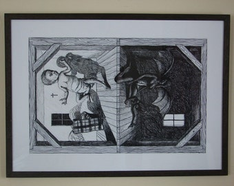 """Original Surreal Charcoal Good vs Evil Drawing """"One Always Exist In The Other"""""""