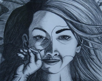 """Original Surreal Conte Beautiful Face Drawing, """"Perfection Through Technology"""""""
