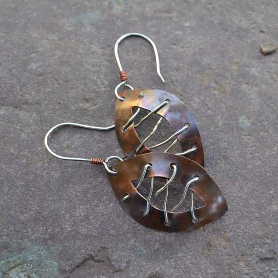 Copper and Sterling Silver Laced Earrings