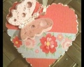 Handmade Valentine Victorian Scalloped Heart Pink Red Gold Blue Floral Washi Tape Original Design Gift Tags Set of 3