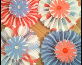 ON SALE One Dozen Paper Rosettes Red White Blue Flag Old Glory Summer BBQ Memorial Day Celebration Tablescape Decorations