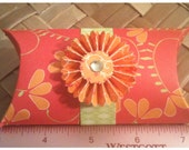 Paper Rosette Mini Pillow Boxes Set of 4 Mothers Day Graduation Shower Raspberry Tangerine Lime Green Heavyweight Cardstock
