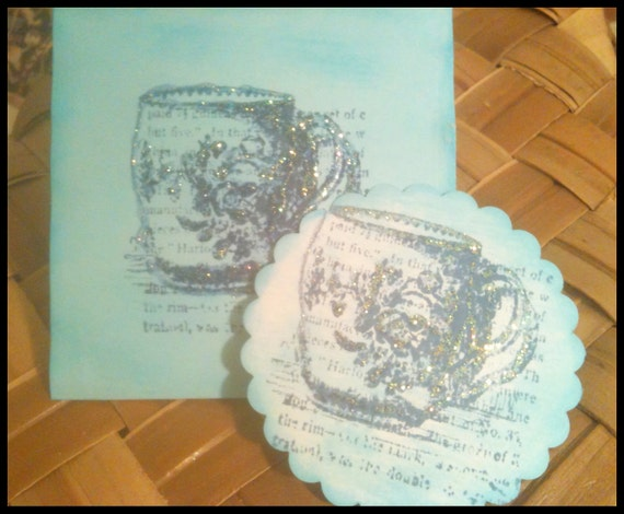 Hand Stamped Notecards Victorian Teacup European Tea Party Coffee Time Blue Jeans Caribbean Blue Set of 10