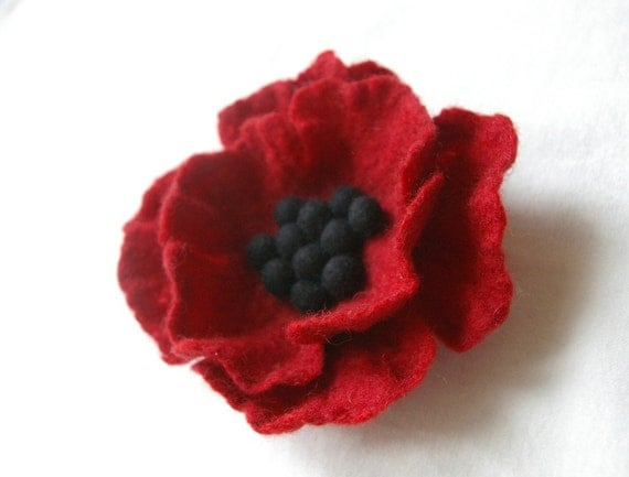 Reserved for  Orie / flower brooch - felted brooch deep red poppy -  SLEEPING BEAUTY -  made to order
