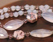 Pink Gemstone Necklace of Rose Quartz for Love and Fertility