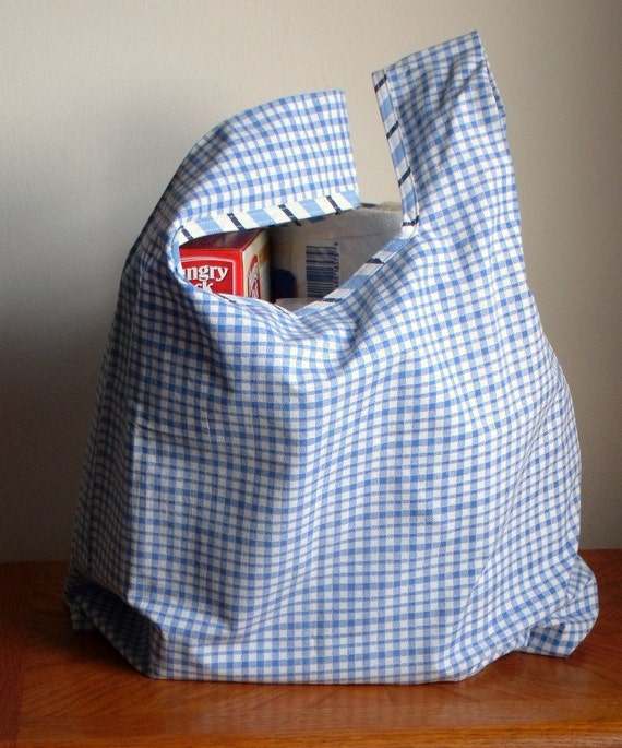 Light Blue Check Washable Reusable Recycled Upcycled Grocery Market Shopping Tote Bag