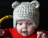 Chunky Boy Girl Teddy Bear Hat Off White (ALL SIZES AVAILABLE)