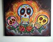 Sugar Skulls and Roses - Acrylic on Canvas - Original Painting - Orange - (14x20)
